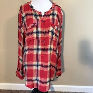 Lucky Brand Flannel Pop Over Blouse XL